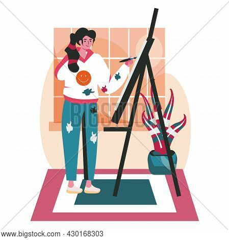 Disabled People Scene Concept. Handicapped Woman Draws On Canvas In Art Studio. Accessibility And Re