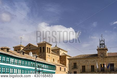 View Of The Buildings Of La Plaza Mayor In The Town Of Almagro In Castilla La Mancha With Blue Sky A