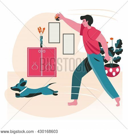 Pets With Their Owners Scene Concept. Man Playing Ball With Dog And Training In Room. Taking Care Of