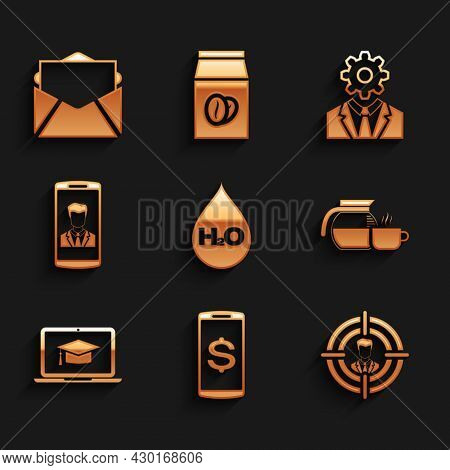 Set Water Drop With H2o, Smartphone Dollar, Head Hunting, Coffee Pot Cup, Graduation Cap Laptop And