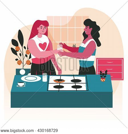 Diverse Homosexual Multiracial Lesbian Couples Scene Concept. Women Cooking In Kitchen Together. Fam
