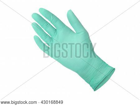 Green Surgical Medical Glove Isolated On White Background With Hands. Rubber Glove Manufacturing, Hu