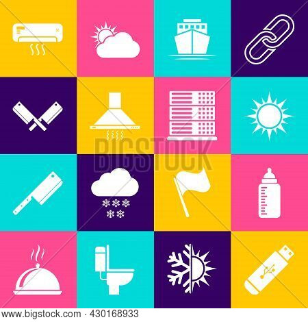 Set Usb Flash Drive, Baby Bottle, Sun, Ship, Kitchen Extractor Fan And Crossed Meat Chopper Icon. Ve