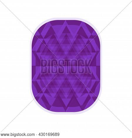 Purple Amethyst In Shape Of Rectangle, Edges Are Blue And Purple. Vector Illustration For Design Of