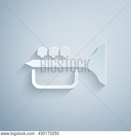 Paper Cut Trumpet Icon Isolated On Grey Background. Musical Instrument Trumpet. Paper Art Style. Vec