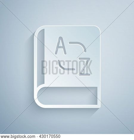 Paper Cut Translator Book Icon Isolated On Grey Background. Foreign Language Conversation Icons In C