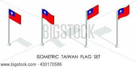 Isometric Flag Of Republic Of Taiwan In Static Position And In Motion On Flagpole. 3d Vector
