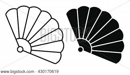 Linear Icon. Theatrical Fan. Female Folding Fan Of Japanese Geisha. Simple Black And White Vector Is
