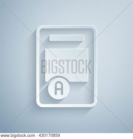 Paper Cut Exam Sheet With A Plus Grade Icon Isolated On Grey Background. Test Paper, Exam, Or Survey