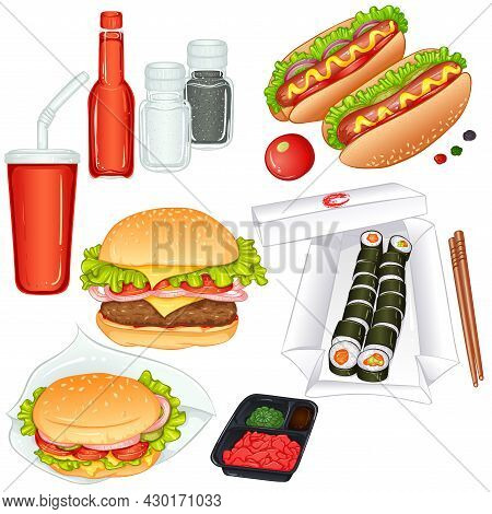 Set Of Colorful Takeaway Food. Vector Cartoon Illustration Isolated On White Background. Fast Food I