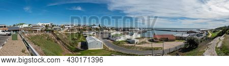 Gansbaai, South Africa - April 12, 2021: Panoramic View Of The Harbour In Gansbaai In The Western Ca
