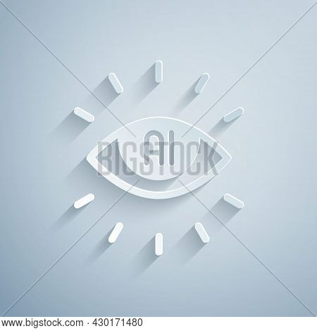 Paper Cut Artificial Intelligence Ai Icon Isolated On Grey Background. Machine Learning, Cloud Compu