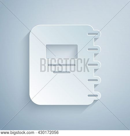 Paper Cut Notebook Icon Isolated On Grey Background. Spiral Notepad Icon. School Notebook. Writing P