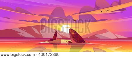 Sunset Landscape With Sea And Mountains On Horizon. Vector Cartoon Illustration Of Nature Scene Of L