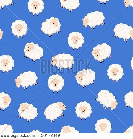 Seamless Pattern Of Cute Cartoon Sheep In Different Poses Flat Style.