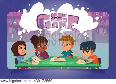 Brain Storm Game Cartoon Landing Page. Kids Playing Boardgame At School Or Kindergarten. Multiracial