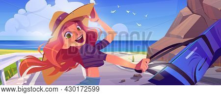 Happy Girl With Suitcase On Road To Sea Beach. Concept Of Summer Vacation And Travel. Vector Cartoon