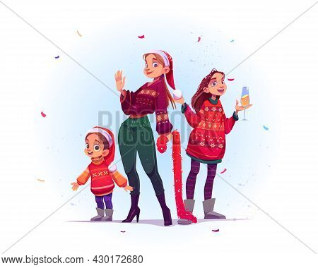 Merry Christmas And Happy New Year Celebration. Cheerful Women And Child Family Characters In Santa