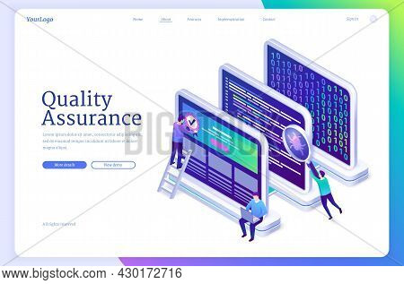 Quality Assurance Banner. Concept Of Software Test, Guarantee Of Fixing Errors And Bugs. Vector Land