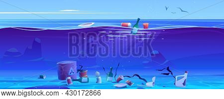 Pollution Ocean By Plastic Trash And Litter. Vector Cartoon Illustration Of Sea With Floating Cups,
