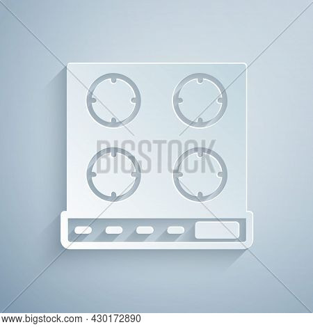 Paper Cut Gas Stove Icon Isolated On Grey Background. Cooktop Sign. Hob With Four Circle Burners. Pa