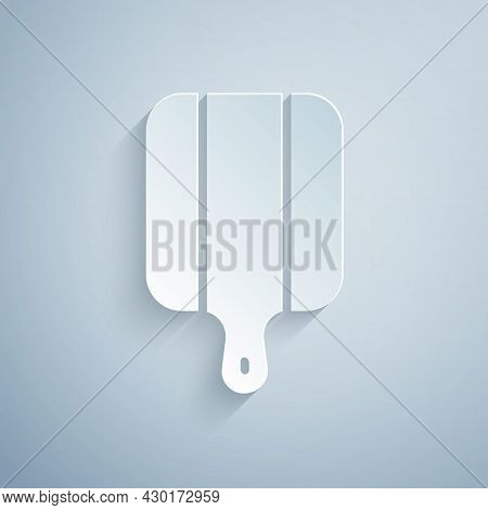 Paper Cut Cutting Board Icon Isolated On Grey Background. Chopping Board Symbol. Paper Art Style. Ve