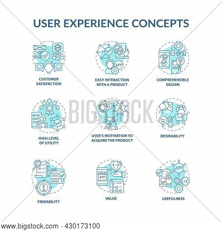 User Experience Concept Icons Set. Customer Satisfaction Idea Thin Line Color Illustrations. Compreh