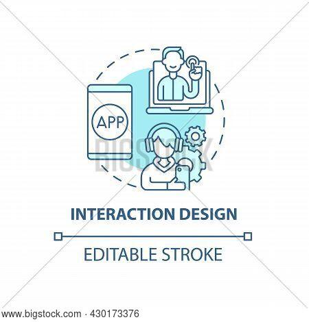 Interaction Design Concept Icon. Ux Design Abstract Idea Thin Line Illustration. Customer Interactin