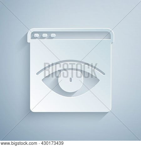 Paper Cut Browser Incognito Window Icon Isolated On Grey Background. Paper Art Style. Vector
