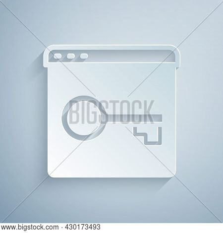 Paper Cut Secure Your Site With Https, Ssl Icon Isolated On Grey Background. Internet Communication