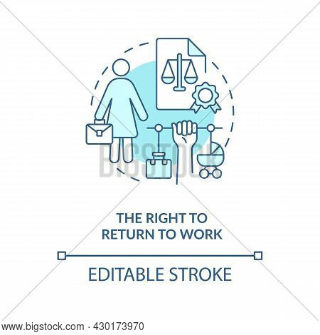 Right To Return To Work Blue Concept Icon. Job Return Abstract Idea Thin Line Illustration. Go Back