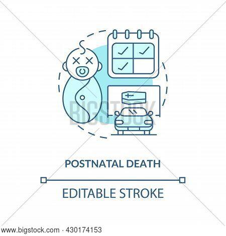 Postnatal Death Blue Concept Icon . Death Of Newborn Abstract Idea Thin Line Illustration. Statutory