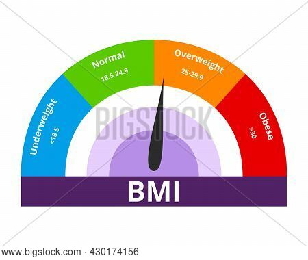 Body Mass Index Overweight Concept. Colorful Bmi Chart Vector Illustration With White Isolated Backg
