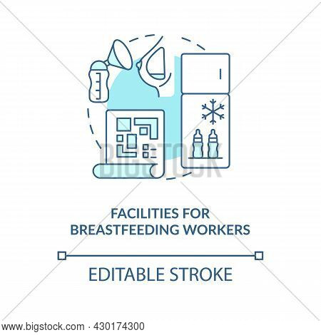 Facilities For Breastfeeding Workers Blue Concept Icon. Express And Pump Breast Milk Abstract Idea T