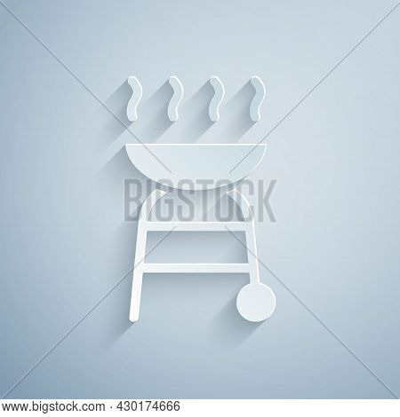 Paper Cut Barbecue Grill Icon Isolated On Grey Background. Bbq Grill Party. Paper Art Style. Vector