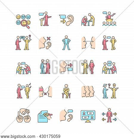 Communication Channel Rgb Color Icons Set. Body Language. Language Barriers. Eye Contact. Biases. Me