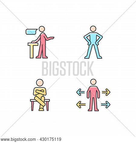 Communication Skills Rgb Color Icons Set. Confident Speaking. Confidence Body Language. Crossed Legs