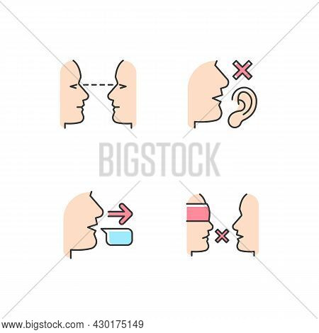 Improve Everyday Communication Rgb Color Icons Set. Eye Contact. Language Disabilities. Message Send