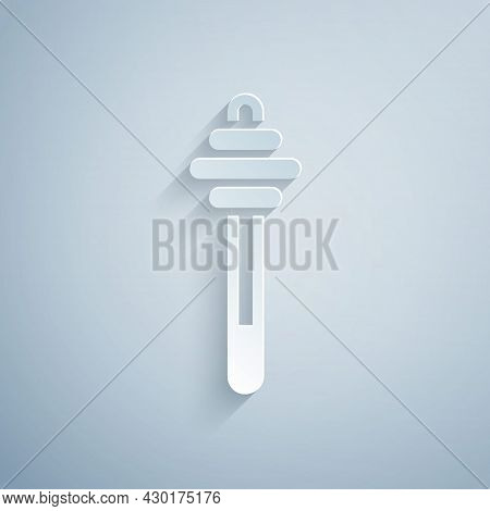 Paper Cut Honey Dipper Stick Icon Isolated On Grey Background. Honey Ladle. Paper Art Style. Vector