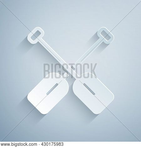 Paper Cut Paddle Icon Isolated On Grey Background. Paddle Boat Oars. Paper Art Style. Vector
