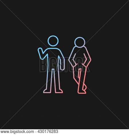 Posture In Communication Gradient Vector Icon For Dark Theme. Body Language. Showing Personality Tra