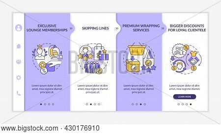 Loyalty Program Benefits Onboarding Vector Template. Responsive Mobile Website With Icons. Web Page