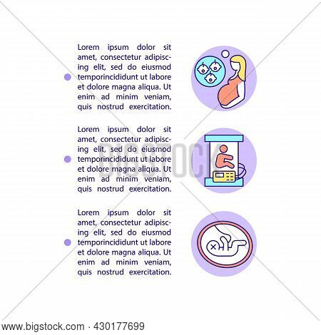 Early, Multiple Births And Stillbirths Concept Line Icons With Text. Ppt Page Vector Template With C