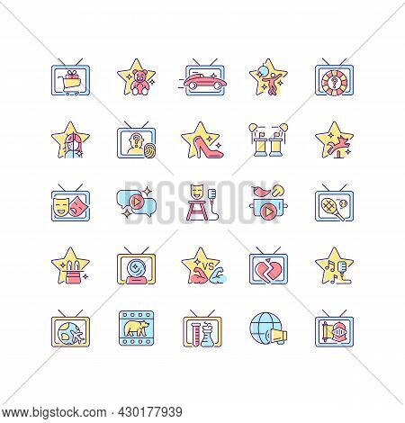 Tv Show Rgb Color Icons Set. Television Entertainment. Media Fun Series. Reality Shows And Documenta