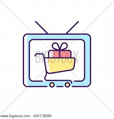 Shopping Show Rgb Color Icon. Teleshopping Program. Television Entertainment Series. Movie About Sho