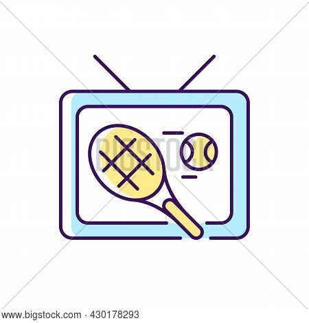 Sports Show Rgb Color Icon. Tennis Competition Broadcast. Professional Tournament On Television. Tv