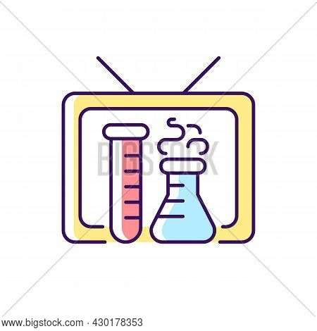 Scientific Show Rgb Color Icon. Educational Tv Series For Learning Science. Watching Chemistry Progr