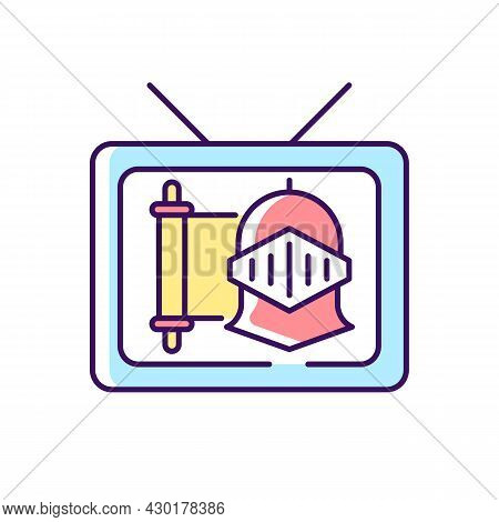 Historical Show Rgb Color Icon. Period Drama Tv Series. Streaming Service. Watch Documentary. Televi
