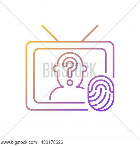 Online Investigation Show Gradient Linear Vector Icon. True Crime Series. Suspense On Tv Channel. Cr