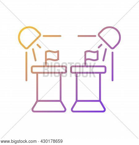 Political Show Gradient Linear Vector Icon. President Debate Broadcast On Television. Watch Politici